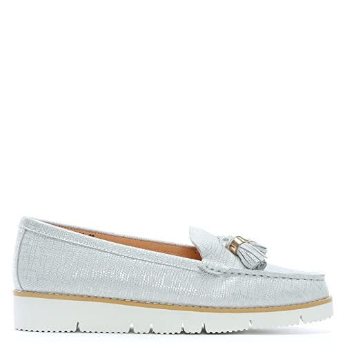 DF By Daniel Condell Leather Sporty Tassel Loafers Silver / White