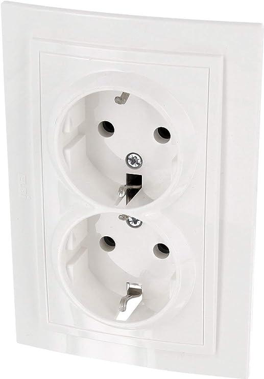 Enchufe doble, todo en uno, marco + unidad empotrable + cubierta (serie Z1 color blanco natural - crema): Amazon.es: Iluminación