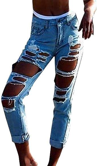 Anaisy Pantalones Vaqueros Boyfriend Para Mujer Pantalones De Mezclilla Con Tubo Rasgado Pantalones Vaqueros Festivo Pantalones Moda 2019 Ropa De Mujer Amazon Es Ropa Y Accesorios