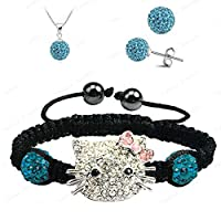 Fashion Jewelry ~ Hello Kitty Disco Ball Shamballa Necklace Earrings and Bracelet Set Blue