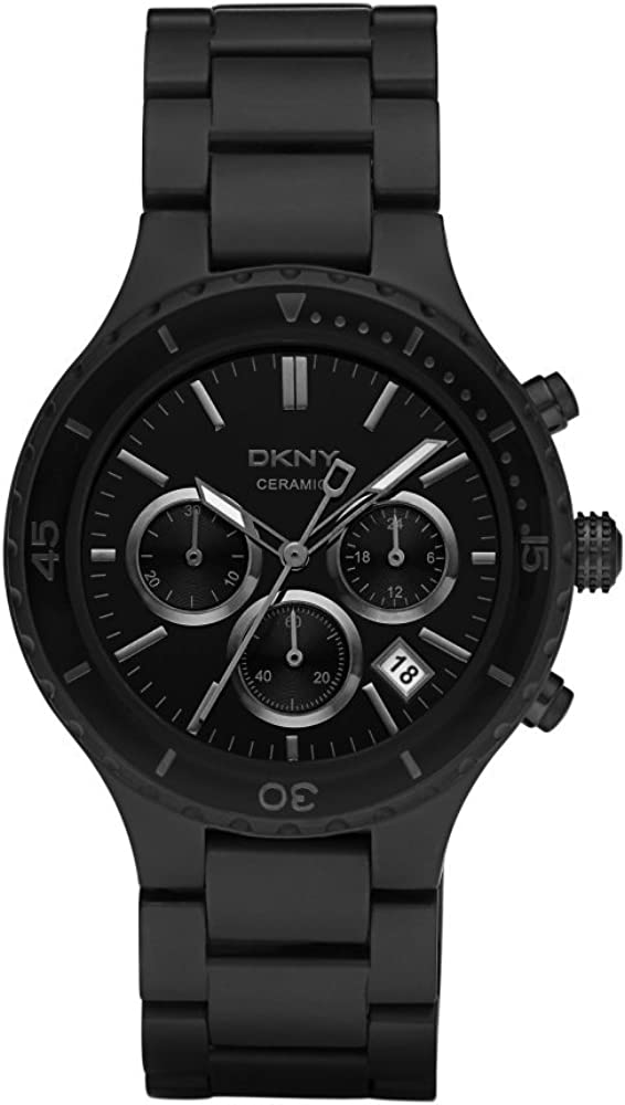 DKNY Gents Black Ceramic Watch with Chronograph
