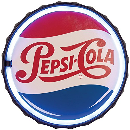 Johnson Smith Co. (Set) Pepsi Cola Round Led Rope Sign - Holes For Easy Mounting + Batteries (Sign Led Sodas)