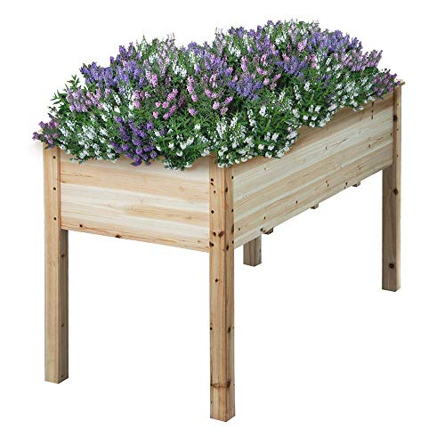 Yaheetech Wooden Raised/Elevated Garden Bed Planter Box Kit for Vegetable/Flower/Herb Outdoor Gardening Natural Wood, 48.8 x 23 x 29.9'' (LxWxH)