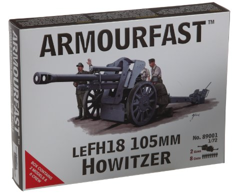 Armourfast LeFH18 105mm Howitzer Gun (Set of 2) and Crew (Set of 8) (1/72-Scale)