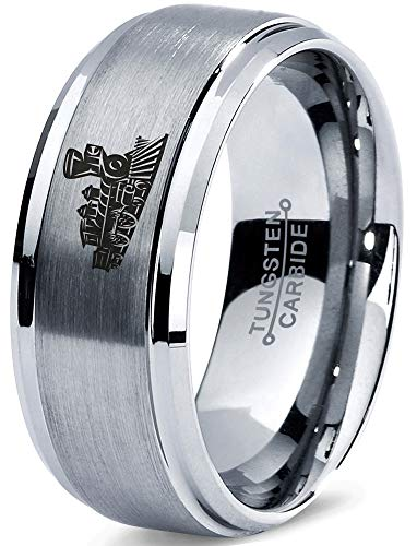 - Zealot Jewelry Tungsten Train Trains Transportation Cargo Rail Band Ring 8mm Men Women Comfort Fit Gray Step Bevel Edge Brushed Polished Size 11