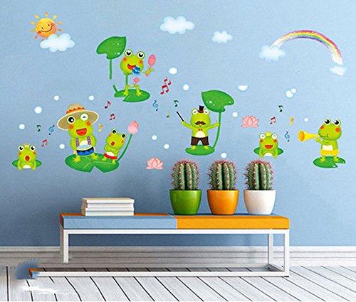 Fange DIY Removable Happy Frog Cartoon Art Mural Vinyl Waterproof Wall Stickers Kids Room Decor Nursery Decal Sticker Wallpaper 16.9x9.8