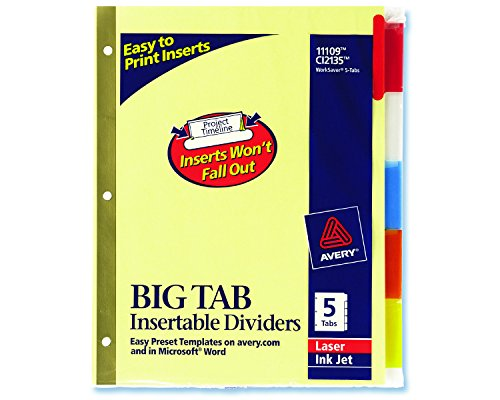 Staples Insertable Big Tab Dividers with Buff Paper, Multicolor, 5/Set - Staples Double Tape Sided
