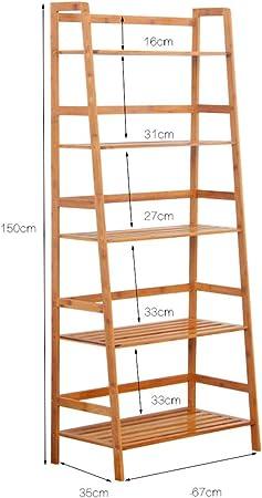 Librería de Estante de bambú, Estante de Flor de Planta Multifuncional en Forma de Escalera Estantes de Almacenamiento de Estante de librería (Tamaño : 67 * 35 * 150CM): Amazon.es: Hogar