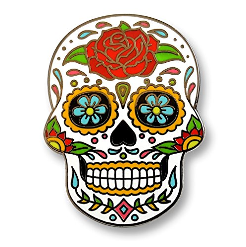 Pinsanity Day of The Dead Sugar Skull Enamel Lapel Pin ()