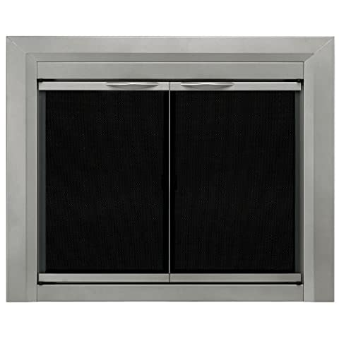 Pleasant Hearth CB-3300 Colby Fireplace Glass Door, Sunlight Nickel, Small - Fireplace Frame