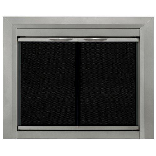 Pleasant Hearth CB-3300 Colby Fireplace Glass Door, Sunlight Nickel, Small - Fireplace Glass Doors: Amazon.com