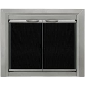 Pleasant Hearth CB 3300 Colby Fireplace Glass Door, Sunlight Nickel, Small