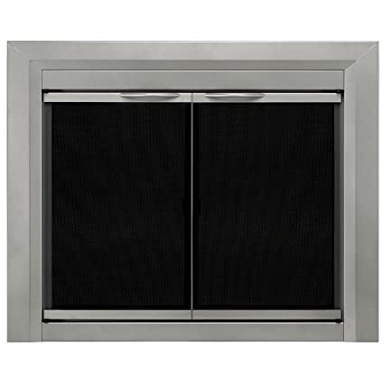 Pleasant Hearth Cb 3300 Colby Fireplace Glass Door Sunlight Nickel