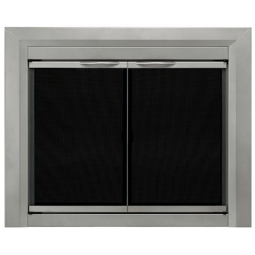Glass Fireplace Screens (Pleasant Hearth CB-3300 Colby Fireplace Glass Door, Sunlight Nickel, Small)