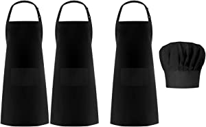 Syntus Apron Chef Hat Set, 3 Pack Waterdrop Resistant Bib Apron with 2 Pockets & 1 Elastic Baker Kitchen Cooking Chef Cap Women Men Chef, Black