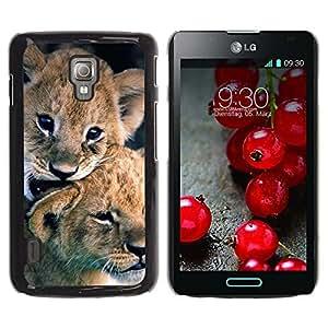 Caucho caso de Shell duro de la cubierta de accesorios de protección BY RAYDREAMMM - LG Optimus L7 II P710 / L7X P714 - Puppy Fur Baby Nature Animal
