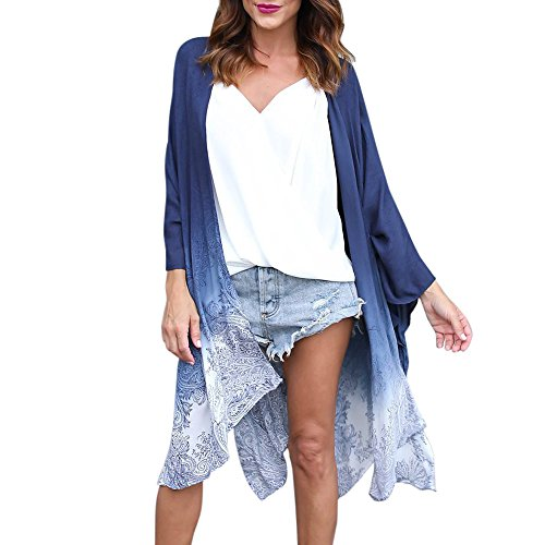 - Kimonos Cardigans for Women Boho Totem Floral Chiffon Kimono Cardigan Loose Beach Bikini Cover up Blouses (Blue, XL)