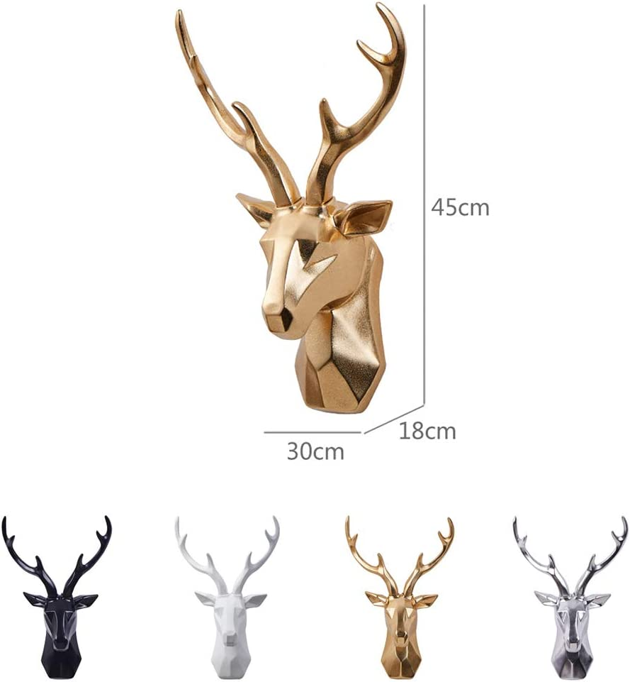 Gold False Taxidermy,Resin Deer Head Wall Hanging Animal Head Wall Mount Sculptures Home Decor for Study Bar Coffee Decoration Golden 45x30x18cm 18x12x7inch