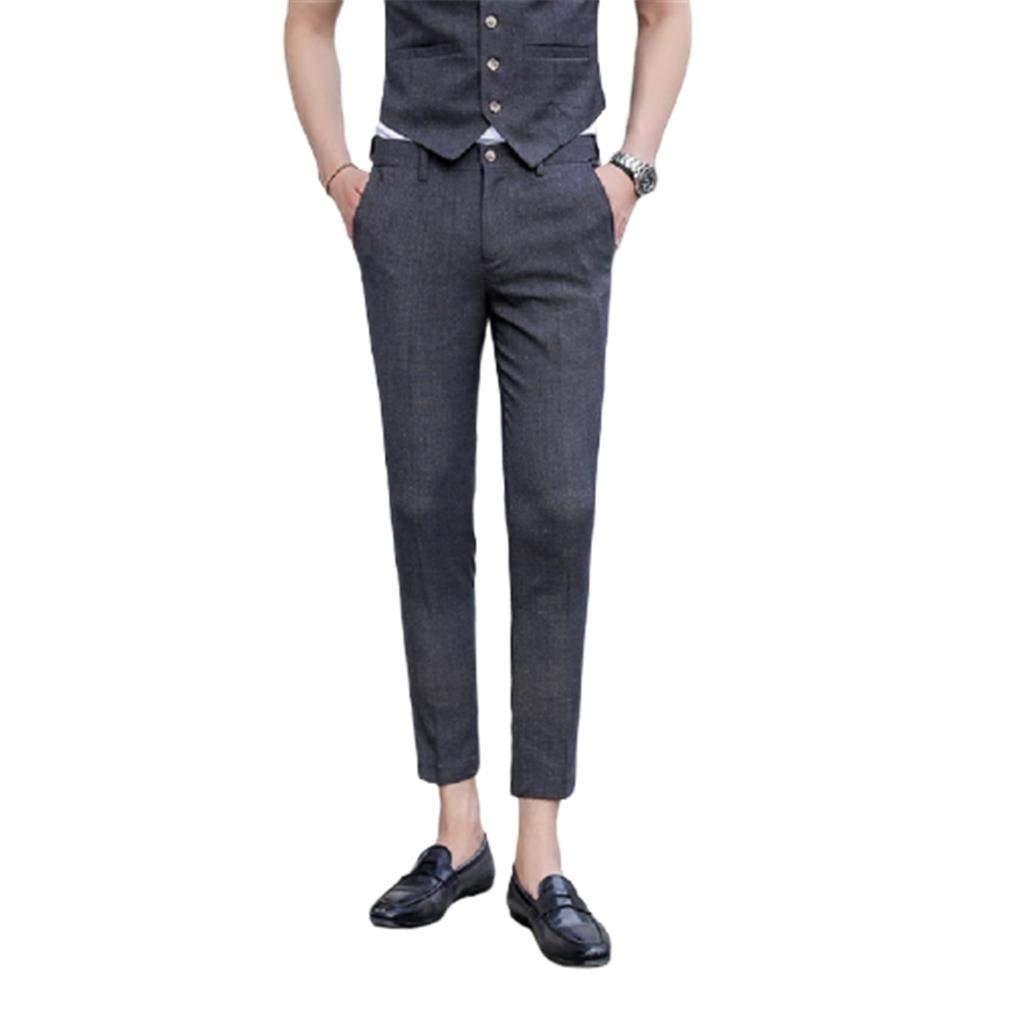 Losait Mens Fit Classic-Fit Flat Front Juniors Slim-Fit Casual Pants