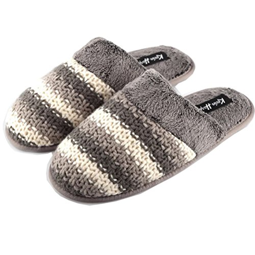 Warm Slip Toe YUTIANHOME Closed Bedroom Flat Indoor Non Knitted Soft Home Cotton Grey Washable Mens Slippers Shoes wqfxqT8Y