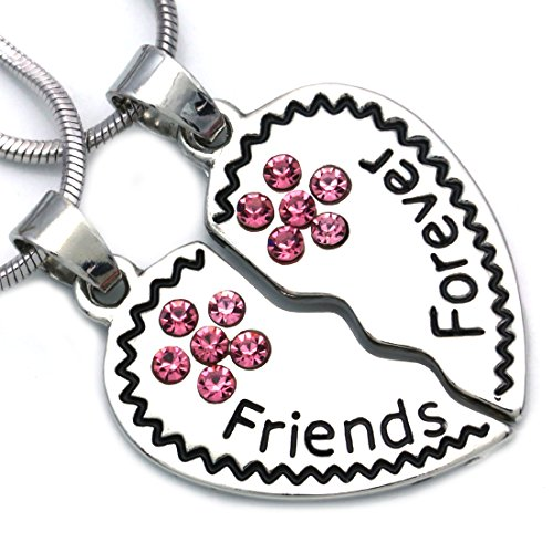Soulbreezecollection Best Friends Forever BFF Heart Necklace Pendant Charm Engraved Letters -