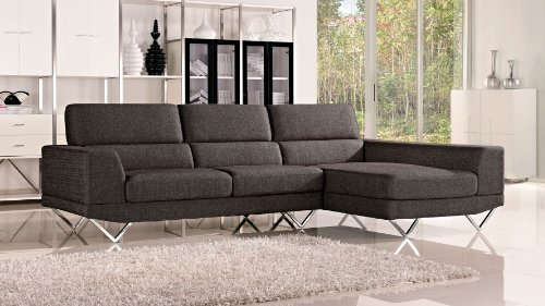 Grey Trago Fabric Sectional Sofa – Right Chaise