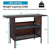 VINGLI Outdoor Wicker Bar Table with 2 Steel