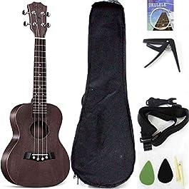Tenor Ukelele Ukulele Solid Top Mahogany 26 Inch With Ukulele Accessories With Gig Bag,Strap,Nylon String, Guitar…