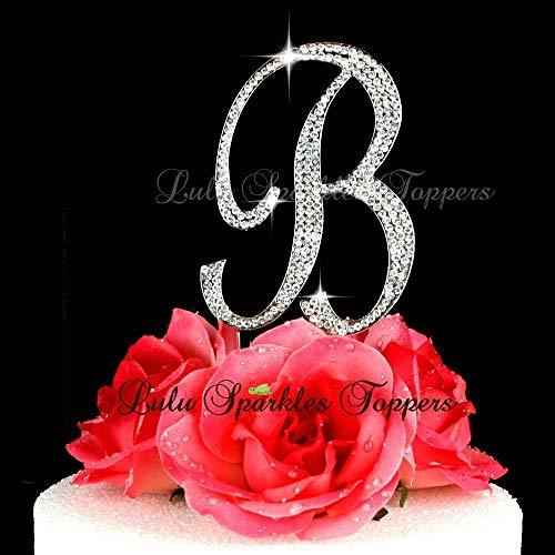 - Crystal Rhinestone Cake Topper Letter B Script Font Large Size Initial B Cake Topper Custom Wedding Cake Topper