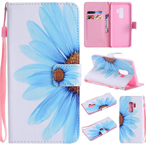 Ostop Colorful Painted Leather Wallet Case for Samsung Galaxy S9 Plus,[Kickstand Feature] Blue Sunflower Printed White PU Magnetic Flip Cover with Card Slots Wrist Strap Shockproof Shell - Executive Case Vertical
