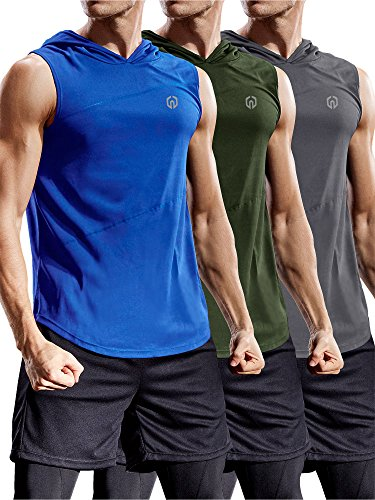 Neleus 3 Pack Workout Athletic Gym Muscle Tank Top with Hoods,5036,Olive Green,Grey,Blue,US M,EU L