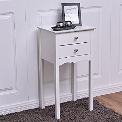 Giantex End Table w/ 2 Drawers Side Table Nightstand Multi-Purpose Accent Table Living Room Bedroom Home Furniture