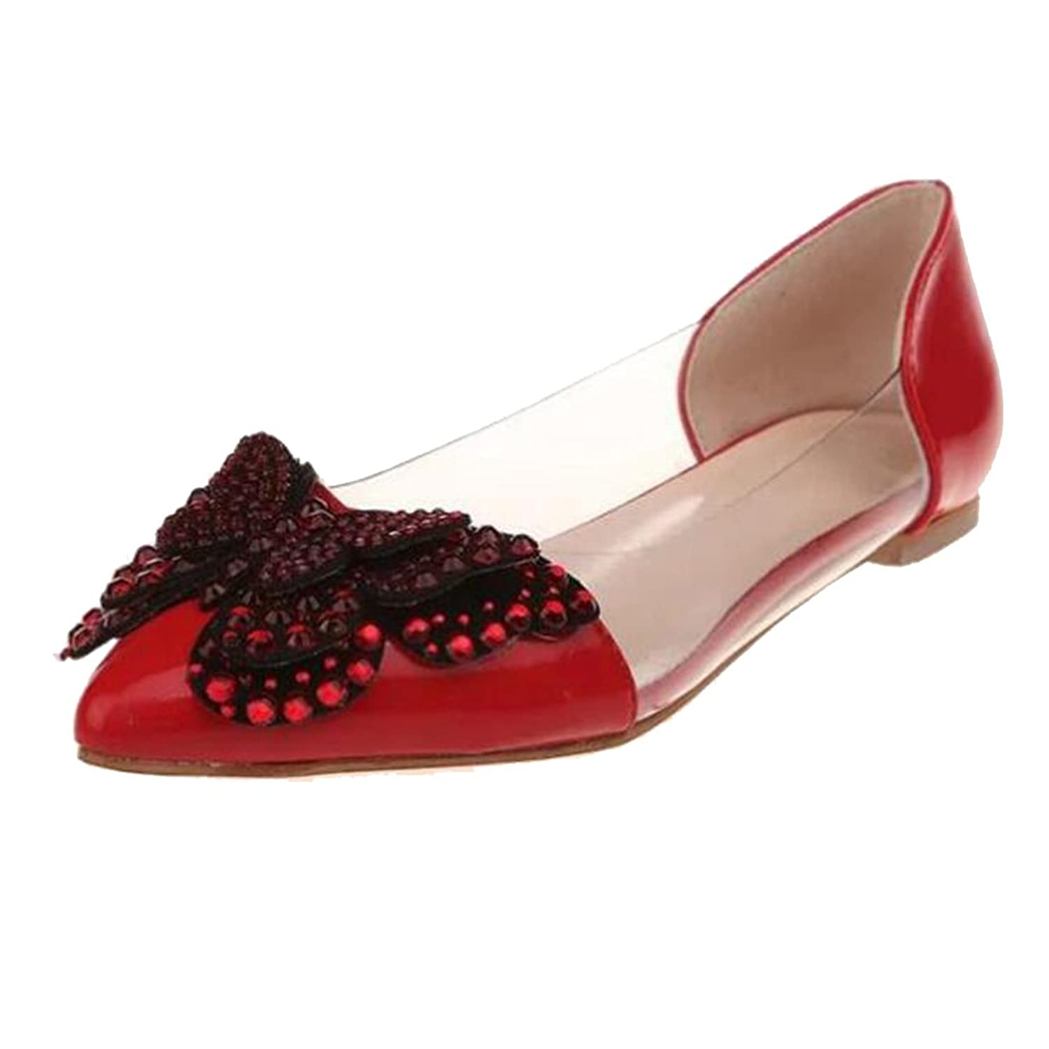 COVOYYAR Women's Rhinestone Butterfly Decor Pointed Toe Ballet Flats Slip On Shoes