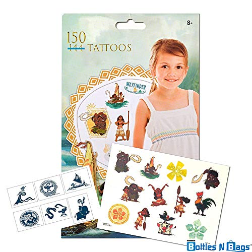 150 Disney Moana Tattoos (Double Amount)- Assorted Temporary Tattoos by Bottles N -