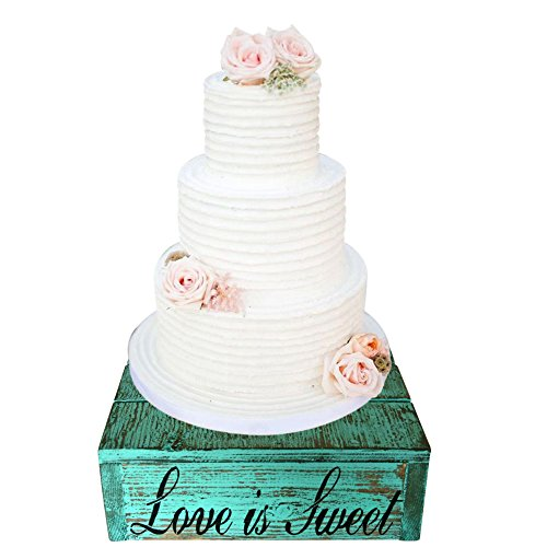 Country Rustic Rustic Wedding Solid Wood Cake Cupcake Stand Beach Wedding Cake Stand Candy Bar (14.0 x 14.0 x 4.0 inches, Distressed Aqua Blue) (Beach Wedding Candy)