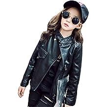 SUNBIBE Fashion Spring Autumn Baby Kids Girls PU Leather Jacket Children Outwear Coat Clothes