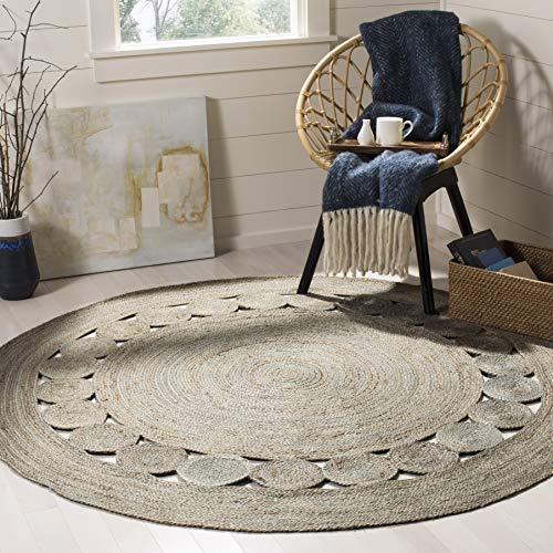 Round Contemporary Natural - Safavieh NF364C-6R Natural Fiber Collection Grey Jute Round Area Rug, 6'