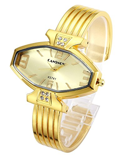 Top Plaza Women Ladies Casual Luxury Gold Rose Gold Tone Alloy Analog Quartz Bracelet Watch Rhombus Dial Rhinestones Decorated Elegant Dress Bangle Cuff Wristwatch-All (Dial Quartz Bracelet Watch)