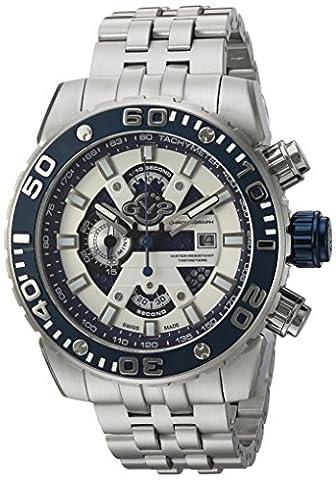 GV2 Polpo Mens Chronograph Swiss Quartz Stainless Steel Bracelet Watch, (Model: 1400B) (Gold Versus Watches For Men)