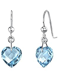 Trendy 8.25 carats Heart Shape Genuine Swiss Blue Topaz earrings in Sterling Silver Rhodium Nickel Finish