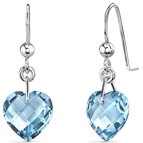 Trendy 8.25 carats Heart Shape Genuine Swiss Blue Topaz earrings in Sterling Silver Rhodium Nickel Finish - Swiss Blue Topaz Earrings