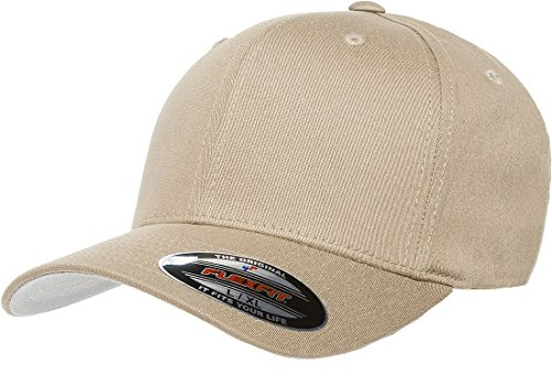 Flexfit 6-Panel Structured Mid-Profile Cotton Twill Cap (5001)- KHAKI, (Profile Cotton Twill Hat)