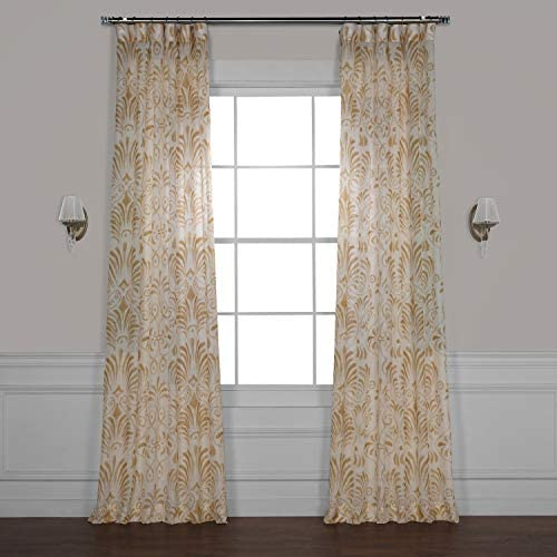 HPD Half Price Drapes SHCH-PS18041C-96 Printed Faux Linen Sheer Curtain 1 Panel