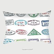 Custom Cotton Linen Pillowcase Protector Passport Stamps Illustration_148155501 Pillow Case Covers Decorative
