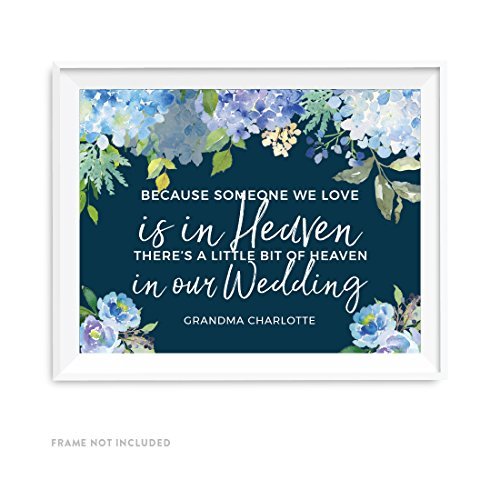 Andaz Press Navy Blue Hydrangea Floral Garden Party Wedding Collection, Personalized Party Signs, Because Someone We Love is in Heaven Wedding Memorial Sign, 8.5x11-inch, 1-Pack, Custom Made