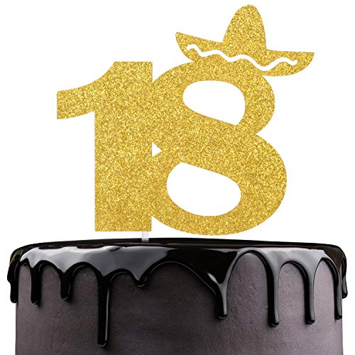 Fiesta 18th Birthday Cake Topper - Gold Glitter Mexican Summer Fiesta Cake Supplies - Cheers To Sweet 18 - Boys Girls Eighteen Years Old Birthday Party Decoration