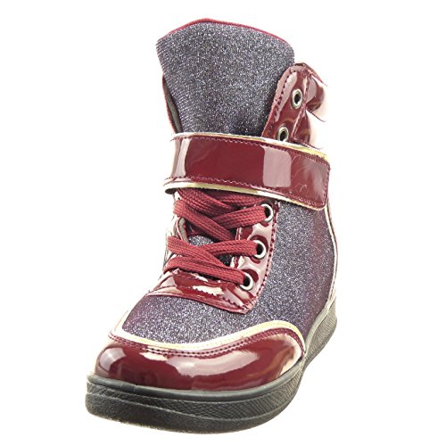 Sopily - Scarpe da Moda alti alla caviglia donna paillette fibbia verniciato Tacco zeppa 6.5 CM - Blu