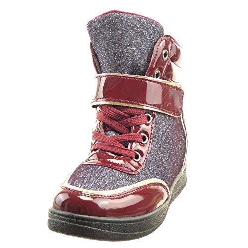 Sopily - damen Mode Schuhe Hohe glitzer Schleife Patent - Blau