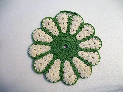 Vintage Green and White Crocheted Pot Holder with Loop for Hanging