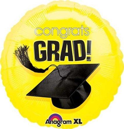 By Broward Balloons Congrats Grad Hat (Graduation) Yellow 18 Inch Foil Balloon (Qty 2)
